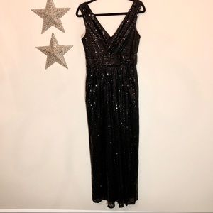 Kate Kasin Fully Sequined Black Formal Dress Prom!